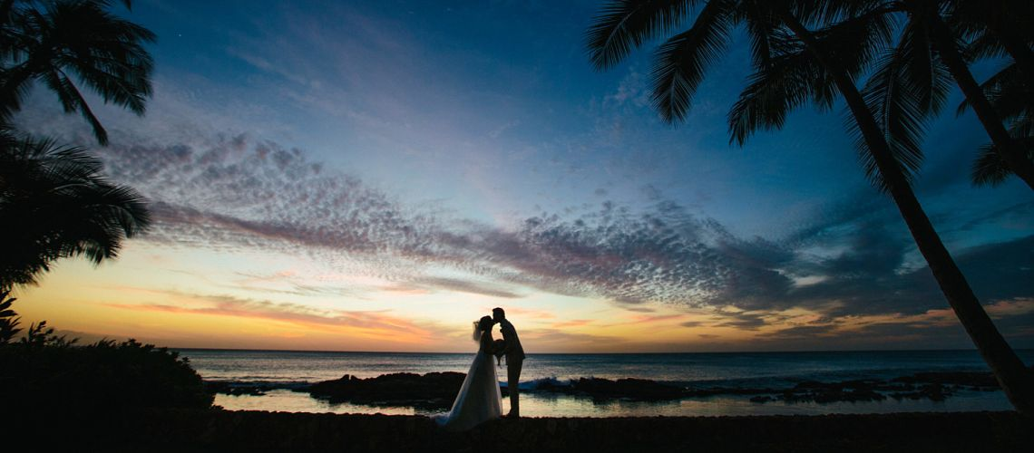 Wedding sunset portrait in Hawaii
